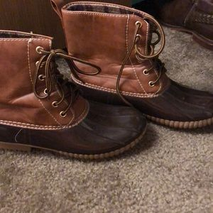Leather duck boots